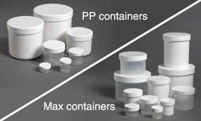 Some of the containers used across the product range